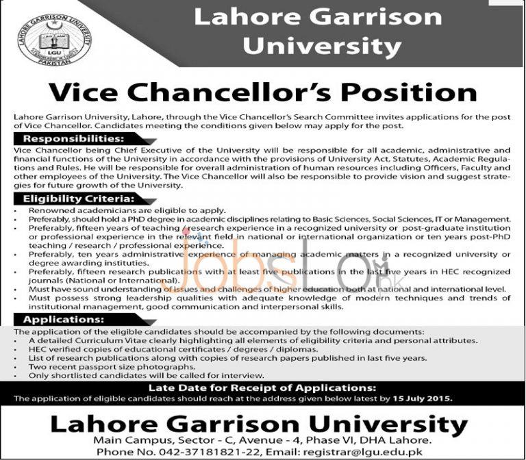 Lahore Garrison University Vice Chancellor Jobs July 2015