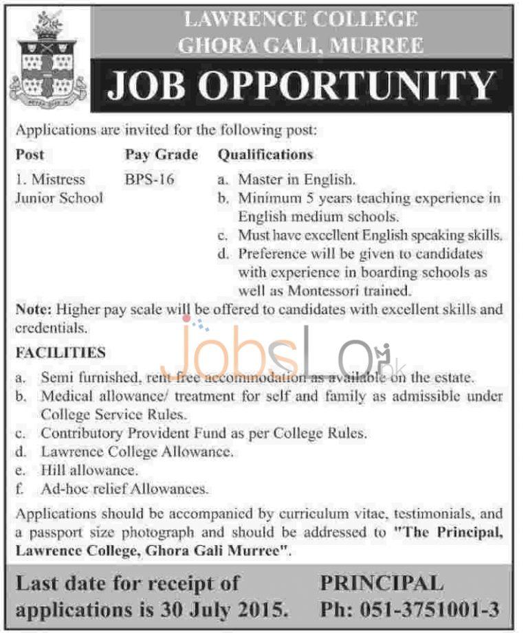 Lawrence College Ghora Gali Murree Jobs July 2015 Advertisement