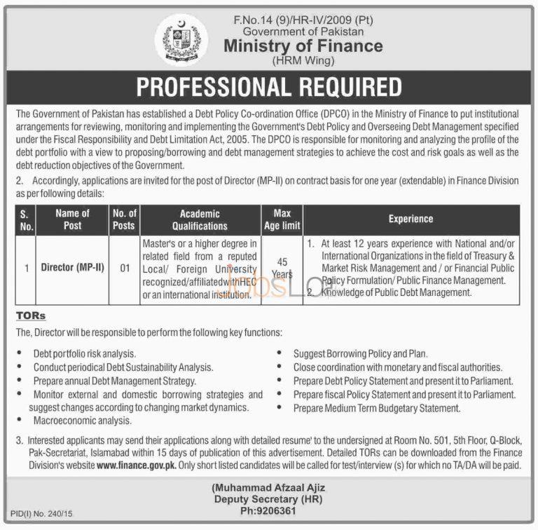 Ministry of Finance Pakistan Jobs 2015 July Latest Advertisement