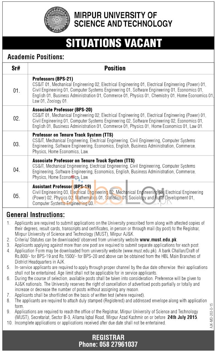 Mirpur University of Science & Technology Jobs