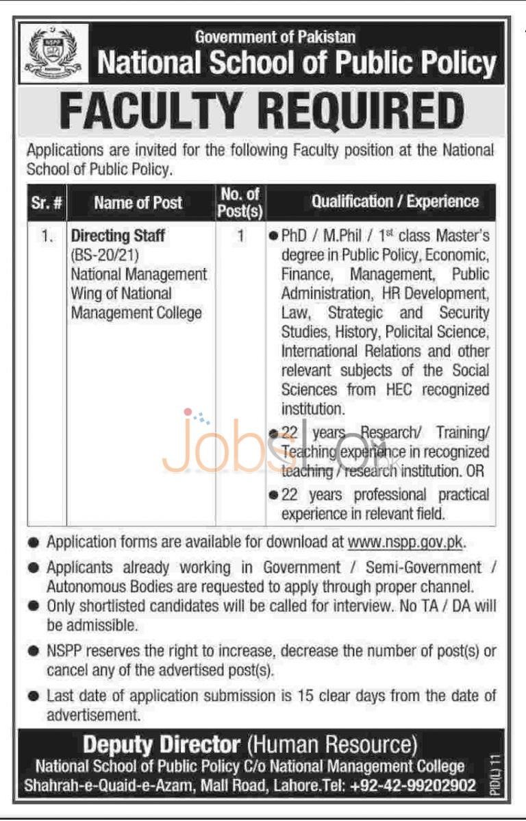 National School of Public Policy Lahore Jobs 2015 Govt of Pakistan