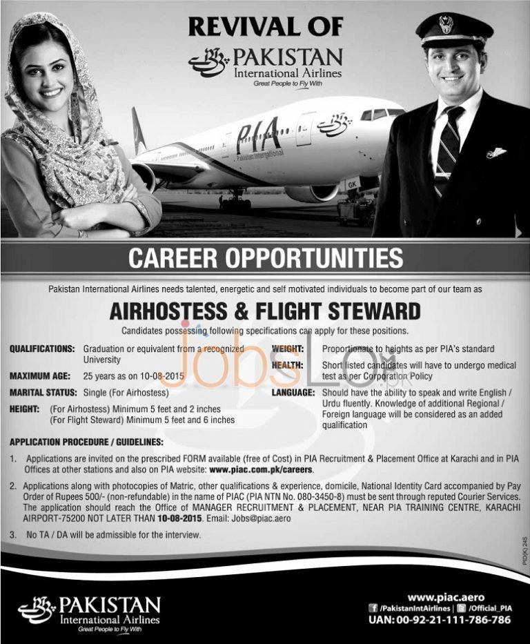 PIA Air Hostess & Flight Steward Jobs July 2015 Application Form