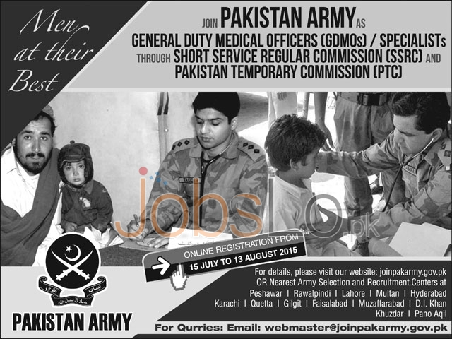 Join Pakistan Army 2015 as DGMOs / Specialists Through SSRC & PTC