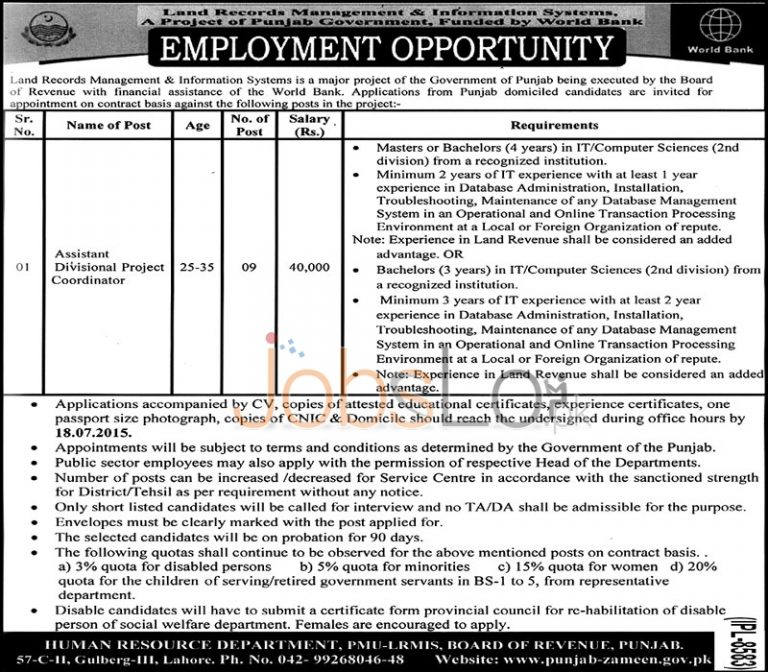 Board of Revenue Punjab Jobs 2015 for Assistant Divisional Project Coordinator