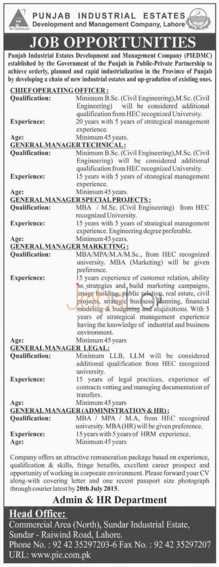 Punjab Industrial Estate Development & Management Company Lahore Jobs 2015