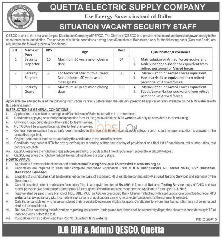 QESCO NTS Jobs 2015 for Security Staff Download Application Form