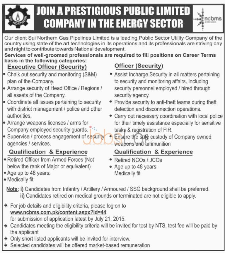 SNGPL Sui Northern Gas July Jobs 2015 NTS Apply Online