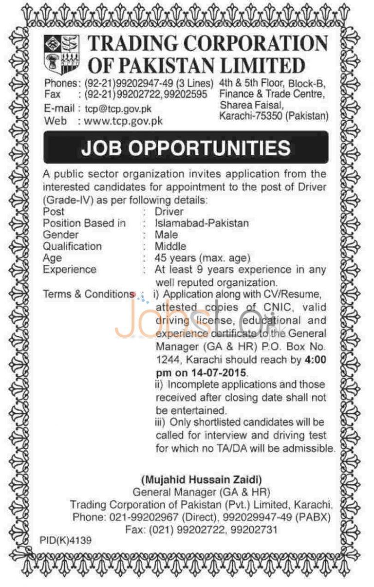 Trading Corporation of Pakistan Karachi Jobs Opportunities 2015