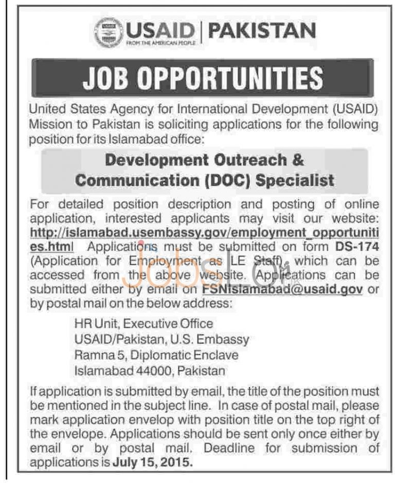 USAID Pakistan Jobs in Islamabad 2015 for Development Outreach & Communication Specialist