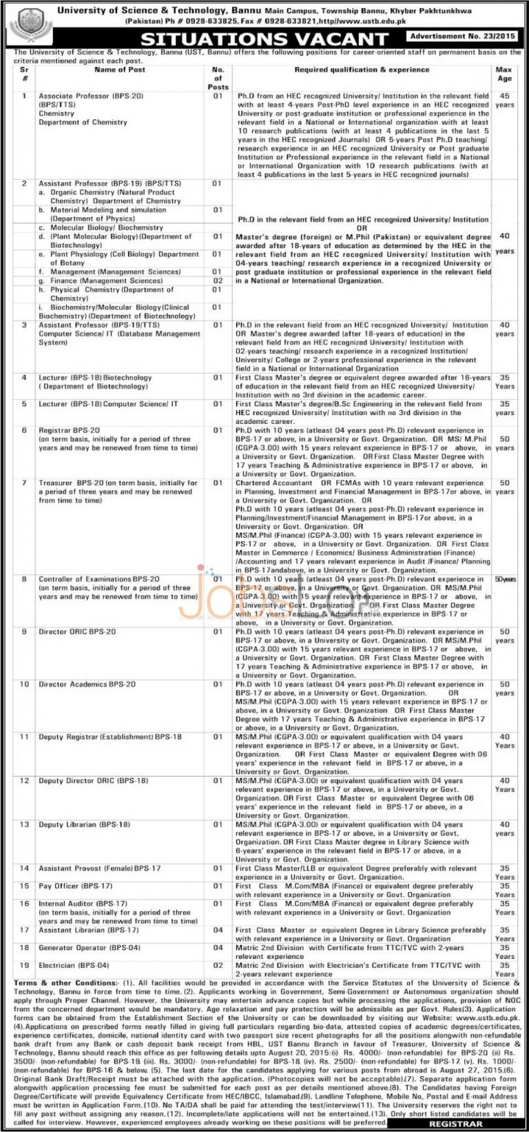 University of Science & Technology UST Bannu Jobs 2015 Application Form