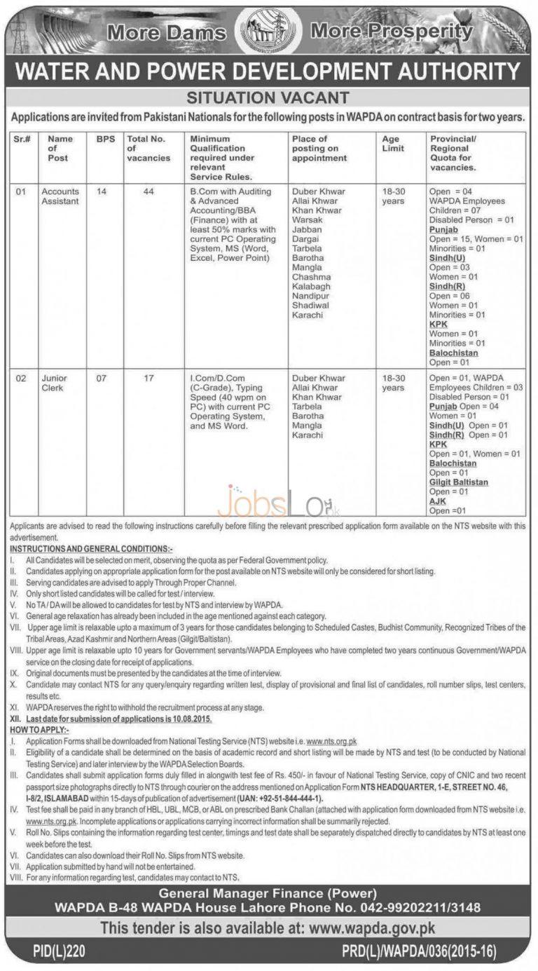 NTS WAPDA Jobs 2015 Form for Accounts Assistant & Junior Clerk