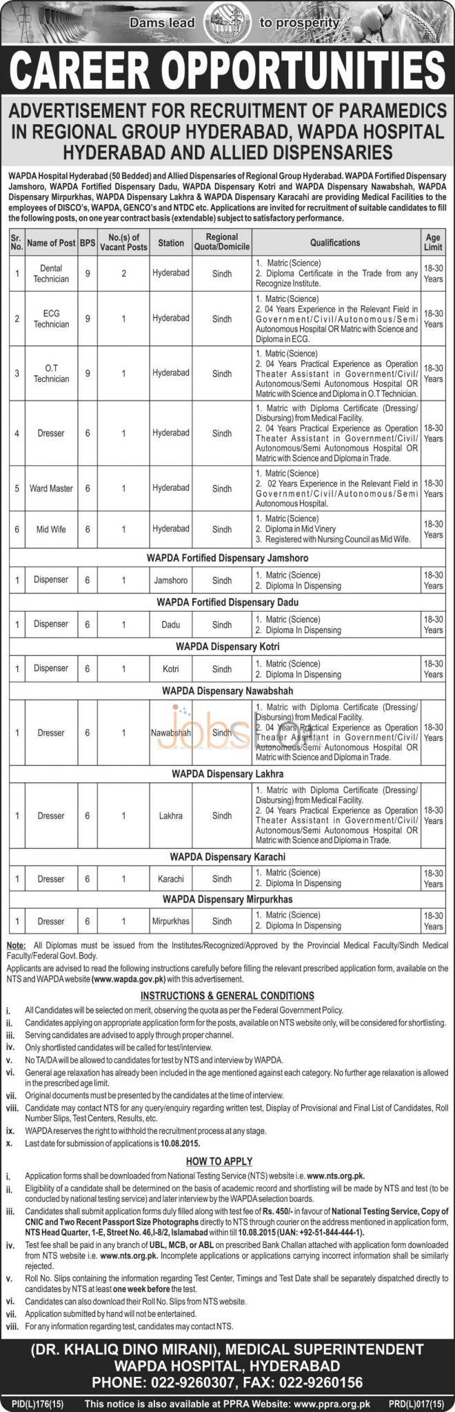 WAPDA Hospital Hyderabad NTS Jobs 2015 Application Form & Test Date