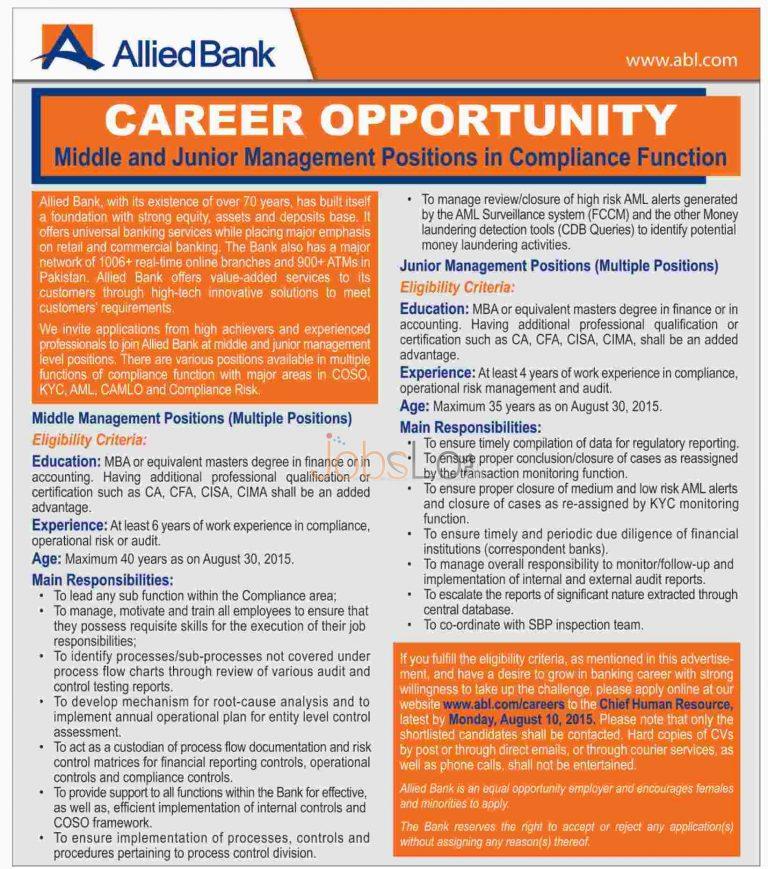 Allied Bank Job Vacancies 2015 Middle & Junior Management Positions