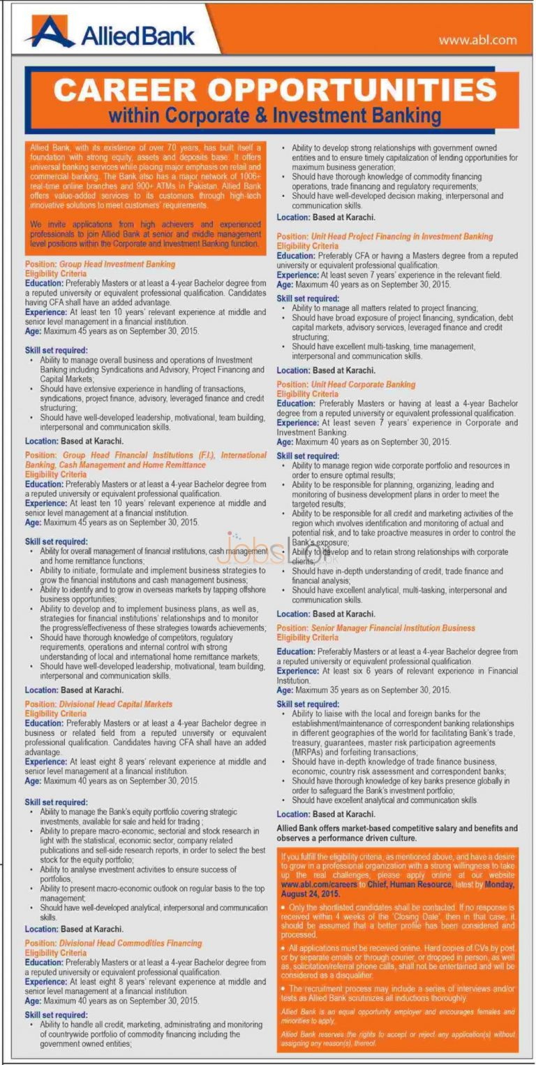 Allied Bank Limited ABL Jobs August 2015 Apply Online for Karachi