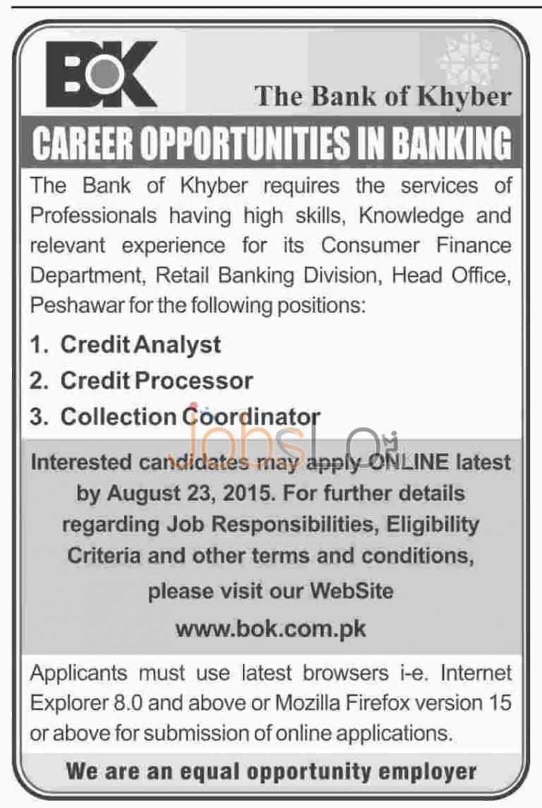 Bank of Khyber Peshawar Jobs August 2015 Apply Online Latest Advertisement