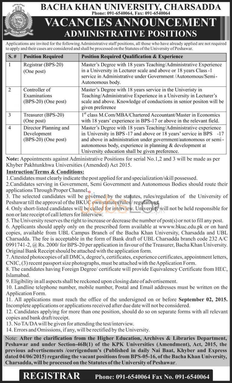 Bacha Khan University Charsadda Jobs August 2015 Latest Advertisement