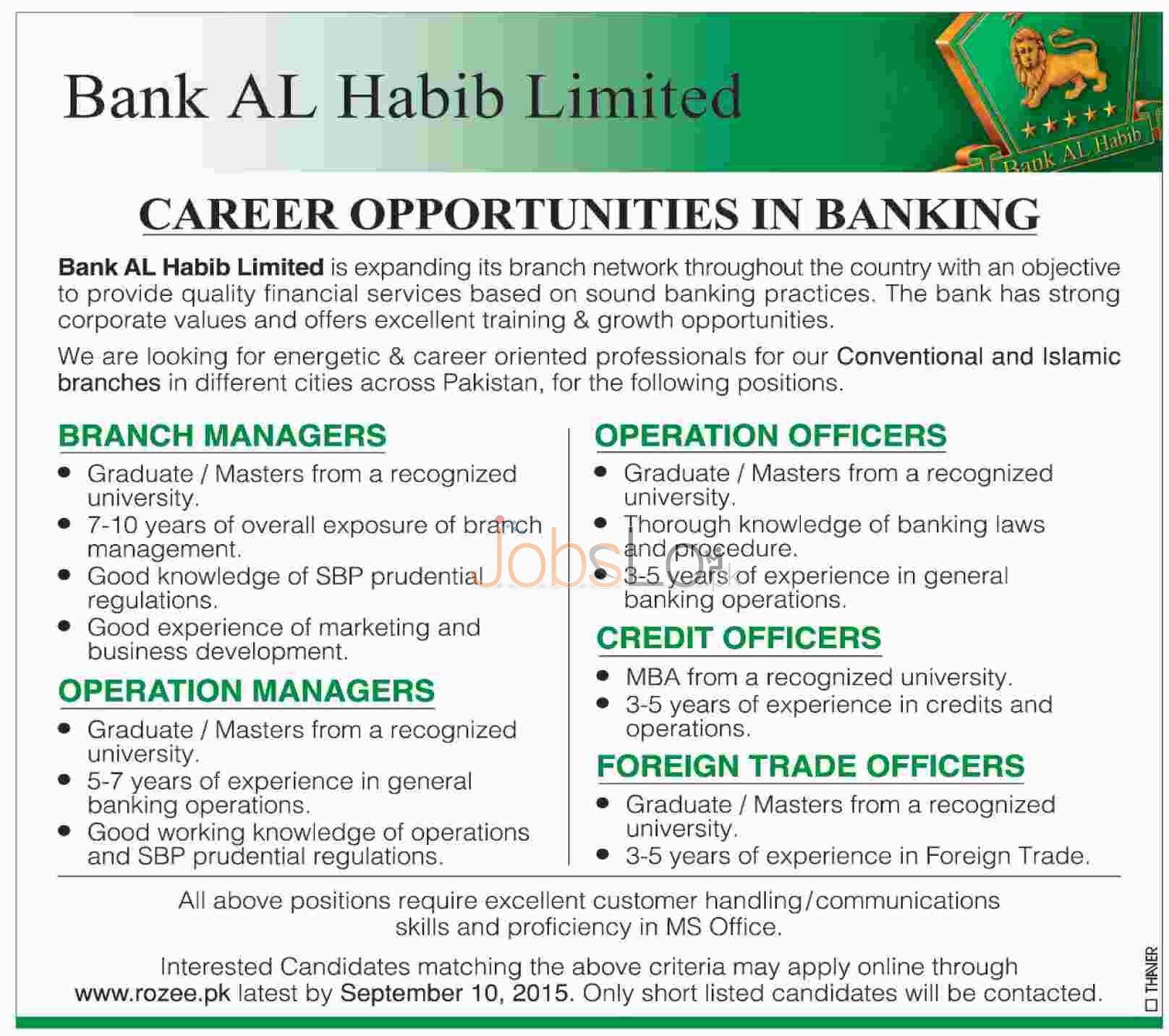 Bank Al Habib Jobs