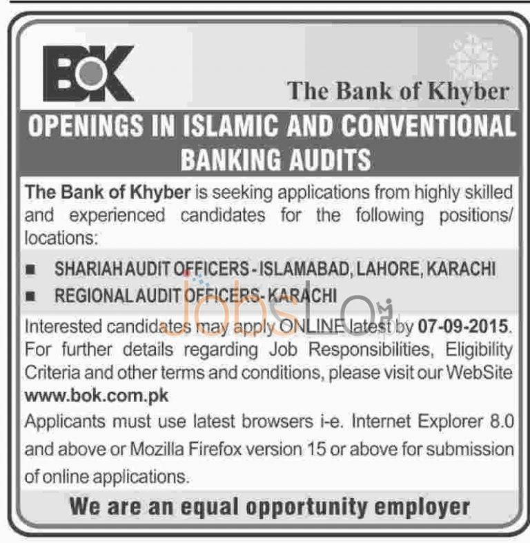 Bank of Khyber Jobs August 2015 Islamabad Lahore Karachi Apply Online