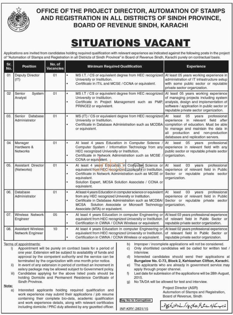 Board of Revenue Sindh Jobs August 2015 Latest Advertisement