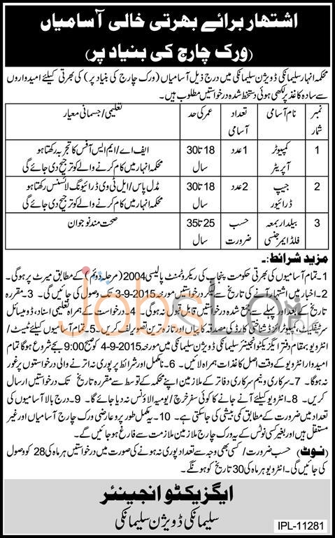 Canal Department Punjab Sulemanki Division Jobs 2015 Computer Operator & Driver