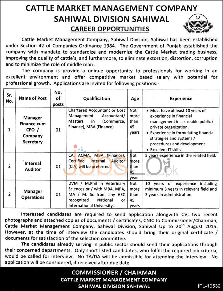 Cattle Market Management Company Sahiwal Jobs 08 August 2015