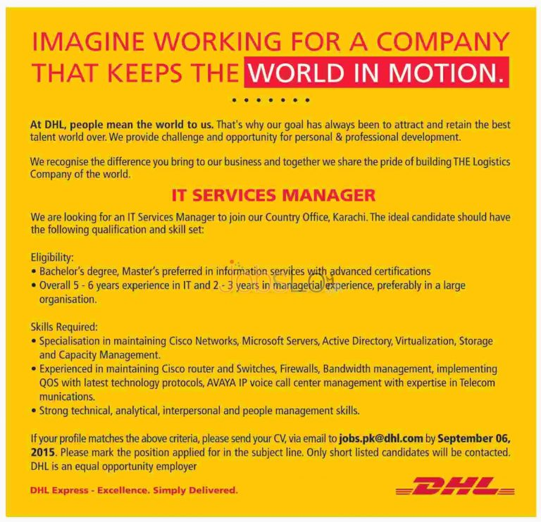 DHL Jobs in Karachi September 2015 for IT Services Manager