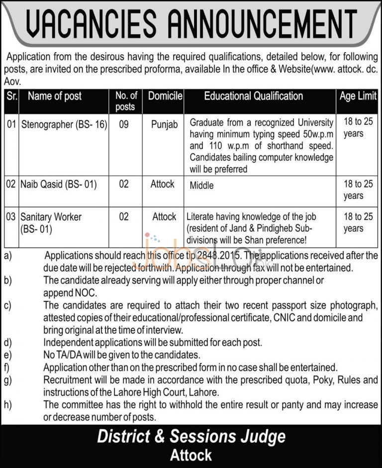 District & Session Court Attock Jobs Application Form 2015 August Advertisement