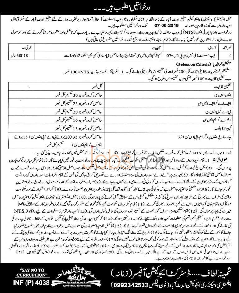 KPK Elementary & Secondary Education Abbottabad Lab Assistant Jobs 2015 NTS Form