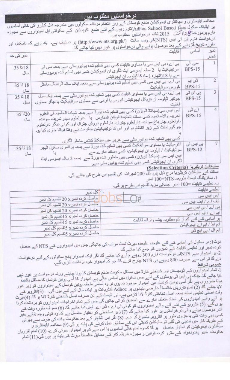KPK Elementary & Secondary Education Kohistan NTS Jobs August 2015 Application Form