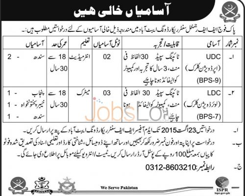 FF Regiment Record Wing Abbottabad Jobs
