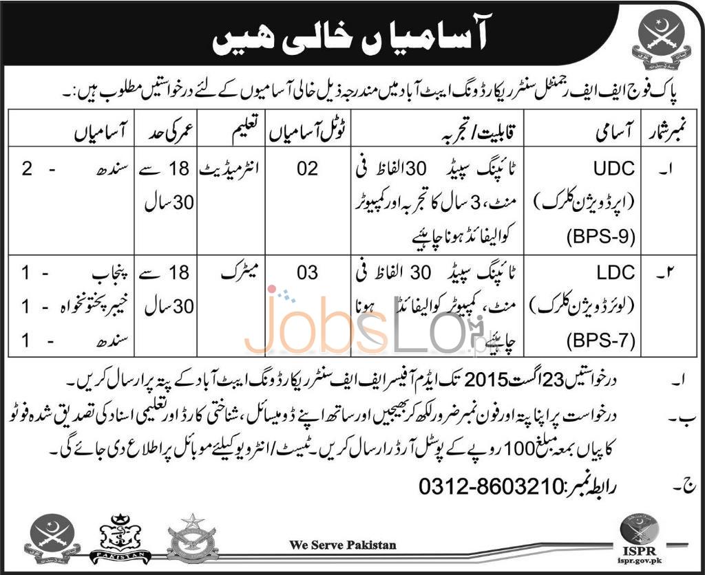FF Regiment Record Wing Abbottabad Jobs