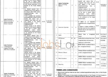 Govt Nawaz Sharif Hospital Lahore Jobs August 2015 Latest Advertisement