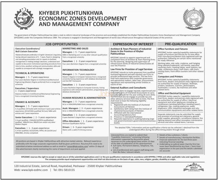 KPK Economic Zones Development & Management Company Jobs 2015 Peshawar