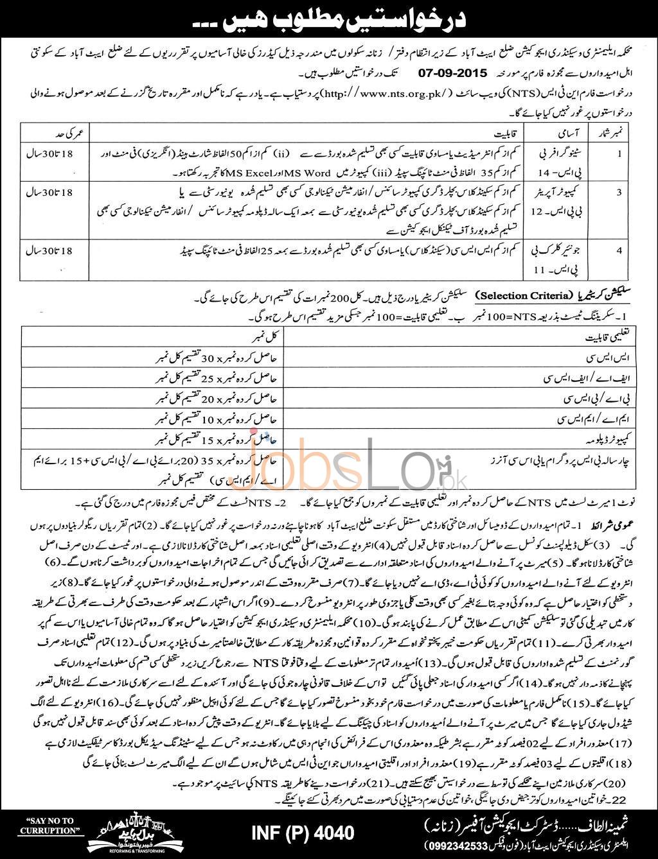KPK Elementary & Secondary Education Abbottabad Jobs