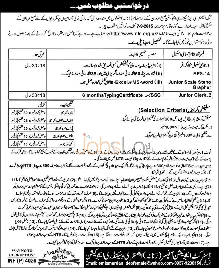 KPK Elementary & Secondary Education Mardan NTS Jobs August 2015 Form