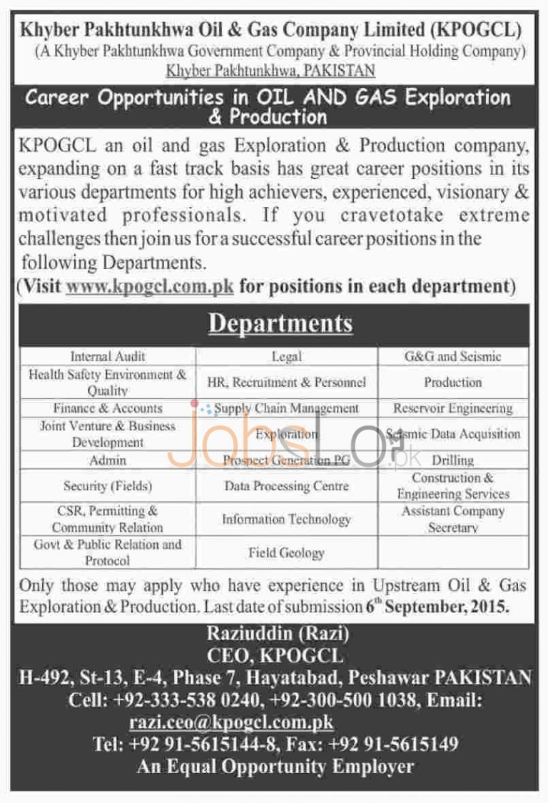 KPK Oil and Gas Company KPOGCL Jobs August 2015 Interview Dates