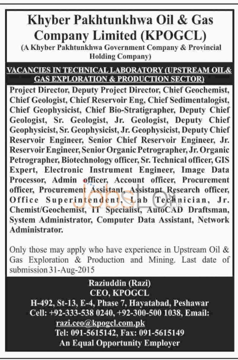 KPOGCL Jobs August 2015 Khyber Pakhtunkhwa Oil & Gas Company Ltd