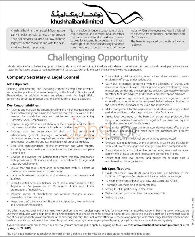 Khushali Bank Jobs 2015 Company Secretary & Legal Counsel