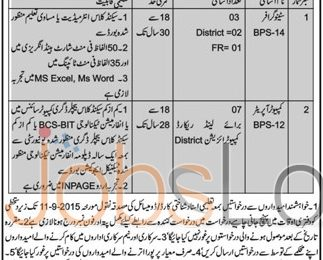 Stenographer & Computer Operator Jobs 2015 in Deputy Commissioner Office