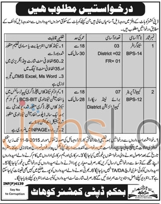 Kohat Deputy Commissioner Office Jobs