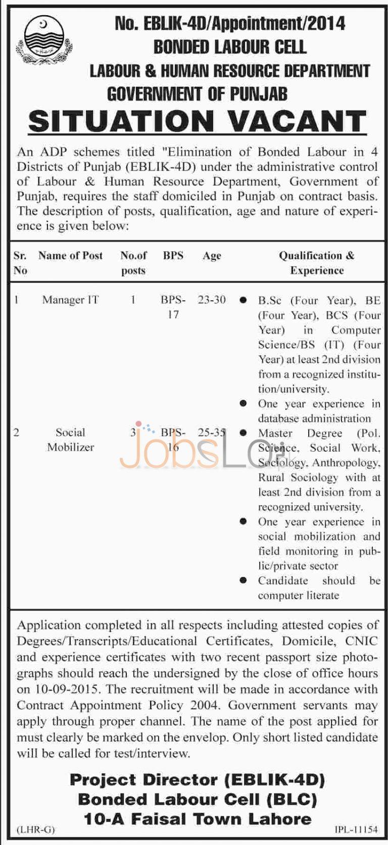 Labour & Human Resource Department Punjab Lahore Jobs August 2015