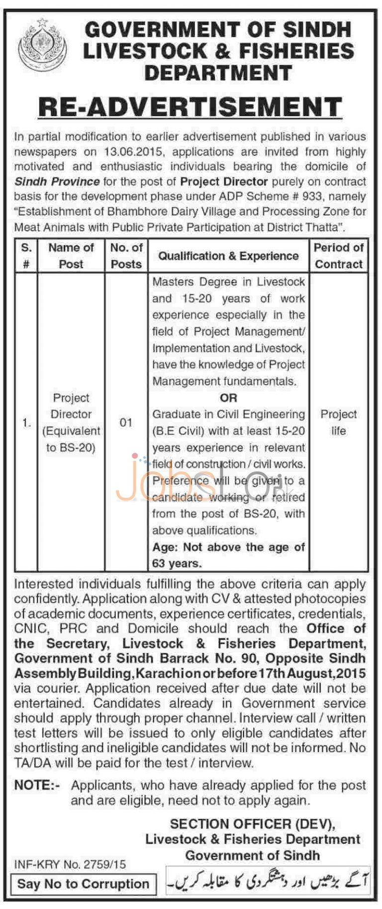 Government of Sindh Livestock Fisheries Department Jobs 2015 Project Director