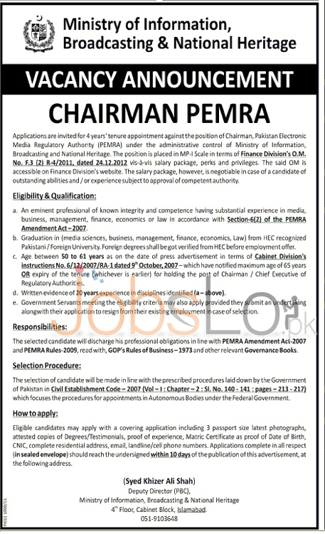 Ministry of Information Broadcasting & National Heritage Jobs