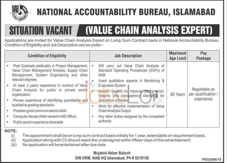 National Accountability Bureau NAB Islamabad August Jobs 2015