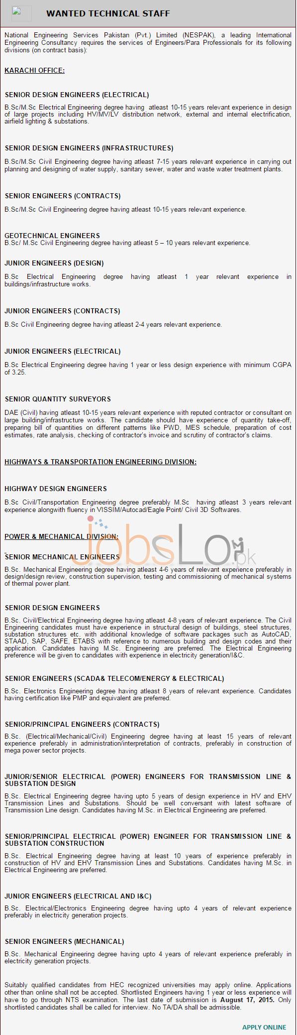 NESPAK Jobs August 2015 Technical Staff Apply Online