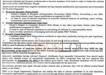 Govt of Punjab PBIT Jobs 2015 August Latest Advertisement