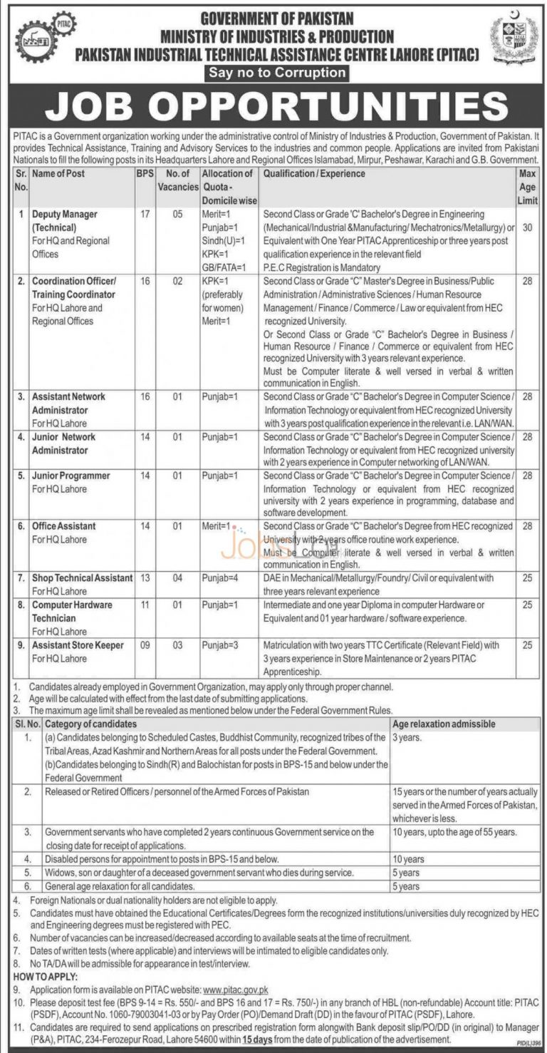 Government of Pakistan PITAC Lahore Job Opportunities August 2015