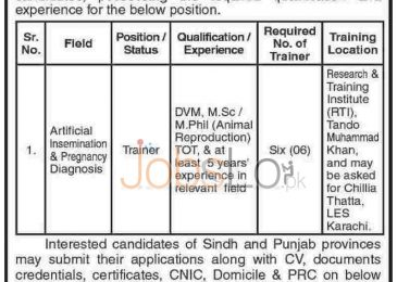 Trainer Jobs in PMU-BBSYDP & Livestock and Fisheries Department Sindh 2015