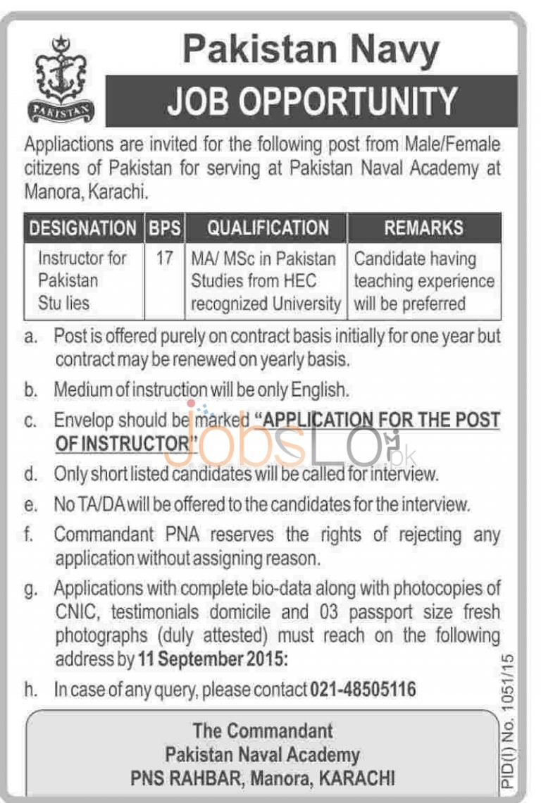 Pakistan Naval Academy Karachi Jobs 2015 for Instructor