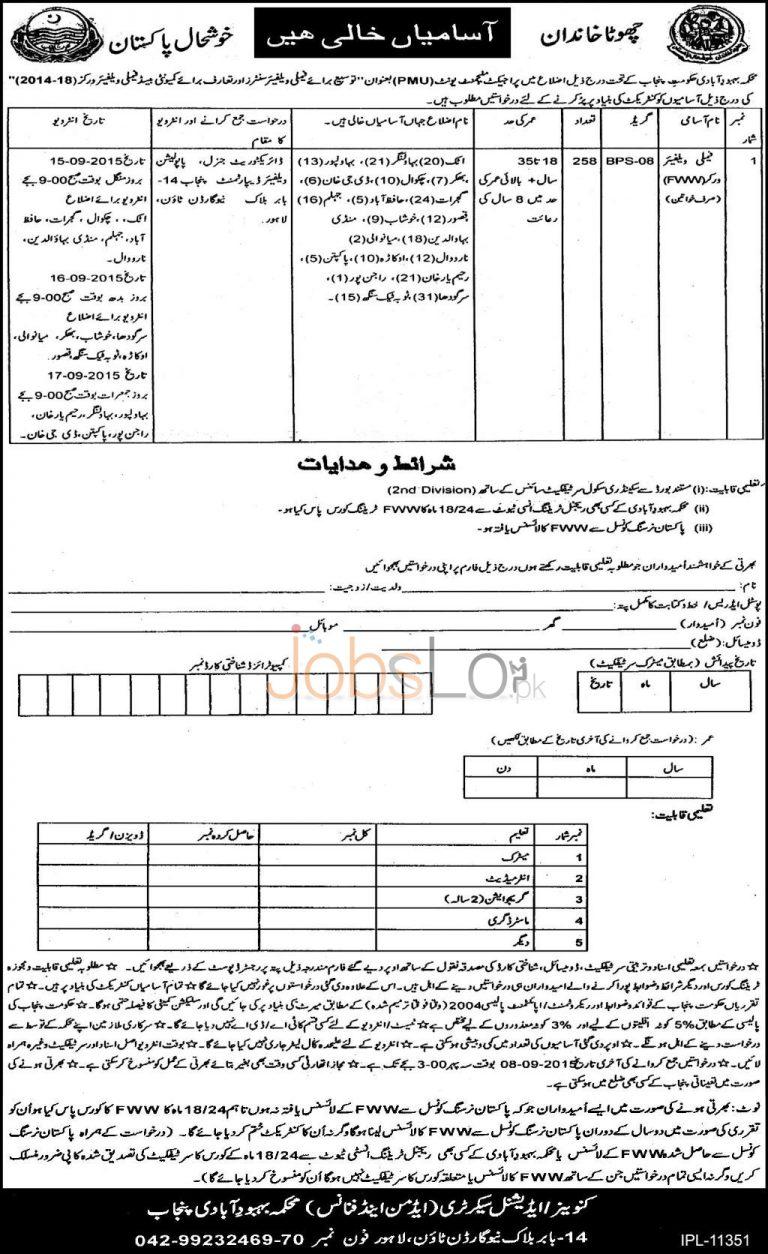 Population Welfare Department Punjab Jobs August / September 2015 Advertisement